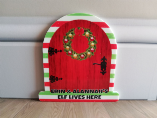 Personalised Candy Stripe Christmas Elf Door